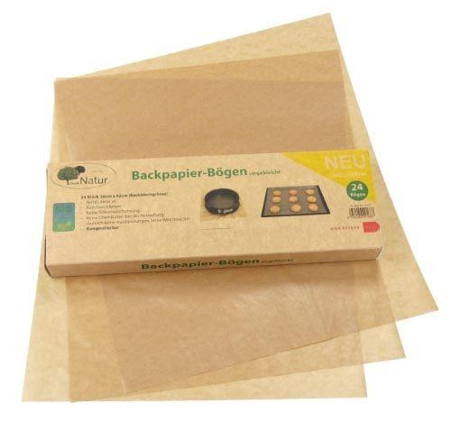 Backpapier silikonfrei Zuschnitte gefaltet 38X42cm, ungebleicht und chemiefrei