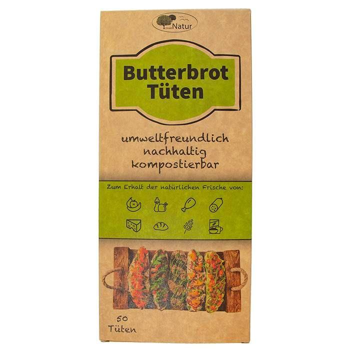 DirektNatur Butterbrottüten, chemiefrei,silikonfrei, ungebleicht 10,5 x 23 x 6cm, 50 Stück