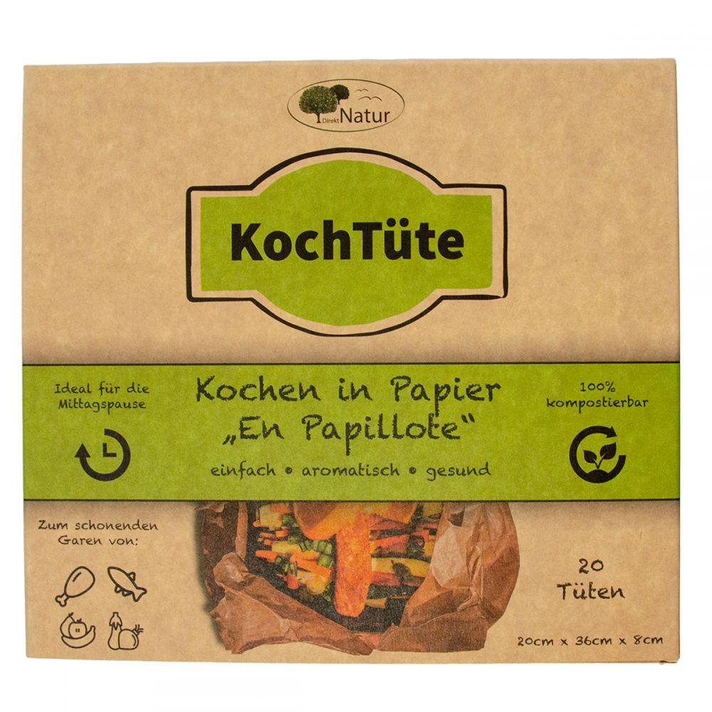 DirektNatur Kochtüte - gesund und schnell kochen - 20 Stück, chemiefrei und kompostierbar